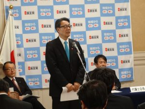 代表質問に立つ決意を述べる海江田代表
