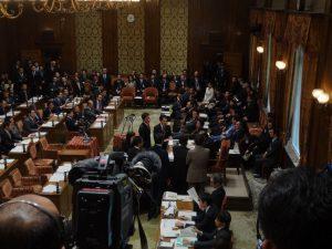予算委員会予算の採決に抗議する民主党