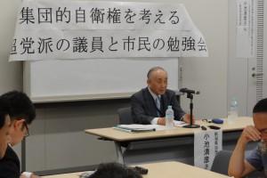 勉強会には講師として、元防衛官僚でもある小池清彦新潟加茂市長が出席され、自らのお考えを熱く語られました。