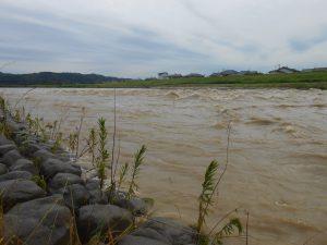大雨で増水した五十嵐川