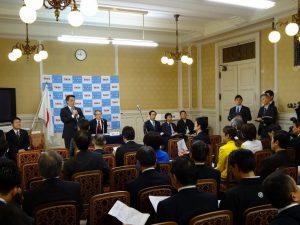 代議士会にて岡田代表挨拶