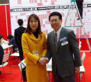 大規模展示会スマートエネルギWeekを見学。主催者であるリードエグジビションジャパン(株)石積社長と。