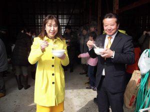 三条市下田地区の「どんどん焼き」藤田ひろふみさんと参加しました