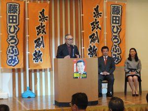 滝口恵介選対本部長より開会の挨拶
