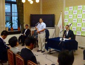 大島衆院議長へ会期延長に反対する申し入れを行った枝野幹事長の報告。