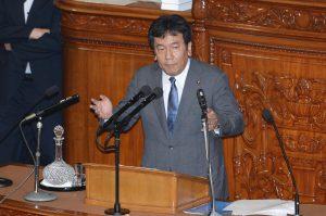 約2時間に及ぶ枝野幹事長の演説。