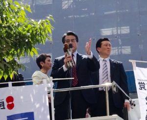 岡田代表の演説。