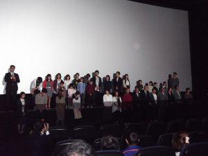 上映後の舞台挨拶の様子。