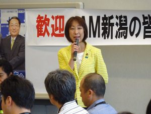 国会見学に来られたJAM新潟の皆さんに挨拶。