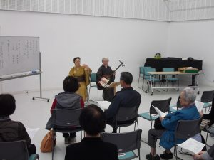越後瞽女唄を聴く会にて。三条市名誉市民・小林ハルさんの孫弟子さんが唄います。