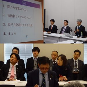 党エネルギー環境調査会。原子力発電所のコストについて立命館大学教授大島先生からお話を伺いました。