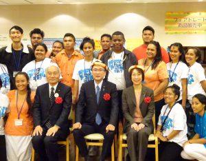 太平洋島嶼国事業で招かれたアジア大洋州各国の学生らとの交流会に出席。