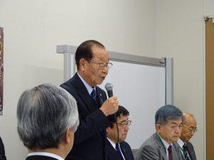 党拉致問題対策本部総会。写真は家族会代表飯塚繁雄さん。