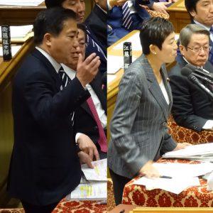 質問に立つ同僚の長島昭久議員、辻元清美議員。