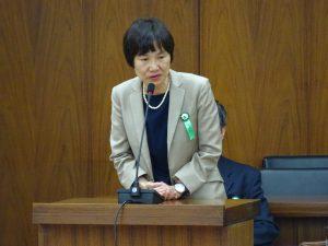 参考人。給付型奨学金創設のために先頭に立って運動してこられた労働者福祉中央協議会事務局長の花井圭子さん。