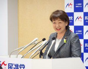 6/16(金)衆議院議員を辞職し、7月23日投開票の仙台市長選に立候補予定の郡和子議員より決意表明の挨拶。